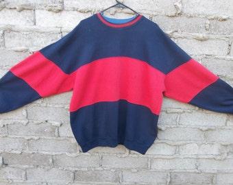 Vintage Sweatshirt Patchwork 1990s 80s Rugby Fresh Prince Cosby Oversized Red Blue Hip Hop Dope Large Preppy Collegiate