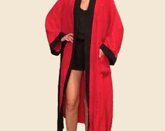 Authentic Christian Dior Red Silk Robe/ Floor Length Robe/ Dior/ Red Dior Robe/ Lingerie/ Sexy Robe/ Silky Robe/ Designer Robe Lingerie