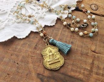 Amazonite Buddha Necklace -  calming buddha necklace mala necklace necklace protection amulet tassel necklace
