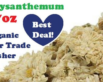 Organic CHRYSANTHEMUM FLOWERS - 1 oz - bulk dried herb, fair trade, kosher, non-GMO