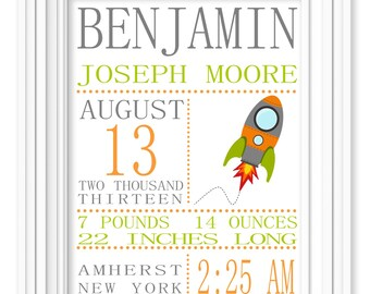 PRINTED Boys Rocket Space Birth Stat Nursery Art Print Printed Personalized Art Kids Nursery Decor Baby Decor Kids Rooms Decor