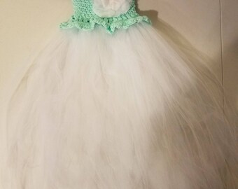 Size 4-6 princess tutu dress in mint green with white tutu skirt
