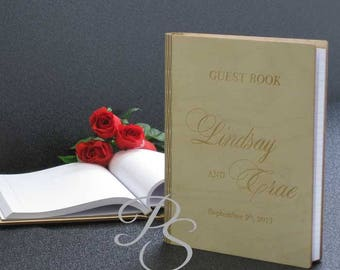 Personalized Wedding Guest Book, Custom Guest Book,  Rustic Guest Book,  Wedding Wood Guest Book