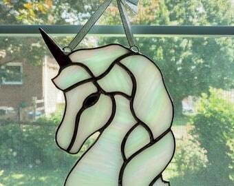 Stained Glass Unicorn Suncatcher, Unicorn Decoration, Rainbow Unicorn, Fantasy Fairy Decor, Mythical Creature, Nursery Decor, Unicorn Art