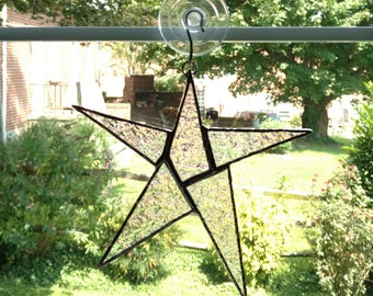 Stained Glass Star Suncatcher, Star Ornament, Iridescent Clear Glass, Christmas Decoration, Employee Recognition