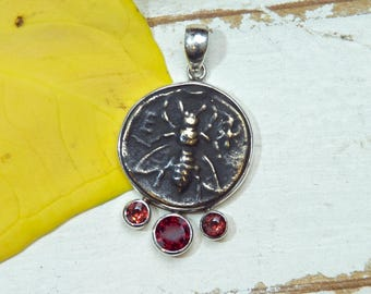 Honeybee Bee Pendant Necklace - Rustic - Garnet Gemstones -  Sterling Silver - coin pendant