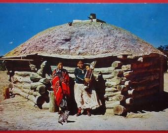 Navajo Indians & Their Hogan, Vintage Postcard, Arizona, New Mexico, Baby, Cat, circa 1960