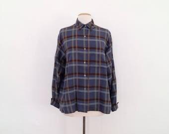 90s calvin klein plaid shirt womens plaid shirt vintage button up shirt cotton collared shirt long sleeve fall blouses