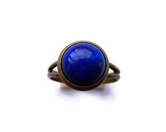 Round Lapis Lazuli Cameo Ring Bronze