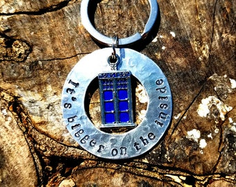 Custom Whovian Keychain, Personalized Doctor Who Keychain, Doctor Who Keychain, Tardis Keychain, It's Bigger on the Inside, Christmas Gift