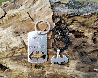 Batman Keychain with Necklace, Father and Son Gift, Father and Daughter Gift Father's Day Gift Gifts For Him Dad Christmas Gift Husband Gift