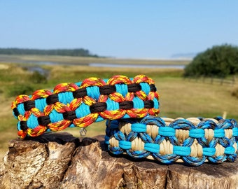 Custom Double KBK Bar Paracord Dog Collar, Choose Your Colors & Closure Type, Custom Wide Paracord Dog Collar, Wide Sight Hound Dog Collar