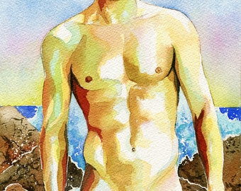 "PRINT Original Art Work Watercolor Painting Gay Male Nude ""By the water"""