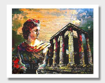 Greek Wall Decor, Digital Greek Art, Wall Decor, Greece Art, Acropolis Art, Digital Painting, Digital Prints, Ancient Greece, Artwork