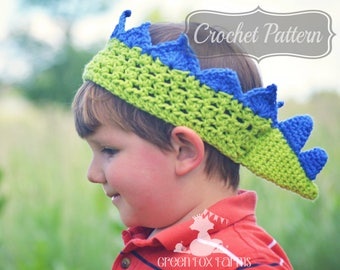 Crochet Pattern PDF, Stegosaurus Crown, Boys Crown Pattern, Dino Birthday Crown, Crochet Crown PDF, Dinosaur Birthday, Crochet Dino Crown
