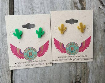 Hypoallergenic cactus earrings FREE SHIPPING