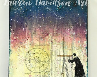 The Astronomer Mixed Media Painting, Astronomy, Night Sky, Starry Night, Wizard, Magic Art Painting