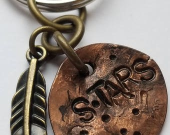 Hand Stamped Smashed Penny - Stars