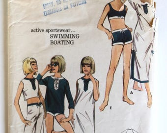 Vintage 1960s Womens Bikini Swimsuit/Beach Lace-Up Top and Pants Sewing Pattern Size 12 Butterick 3546