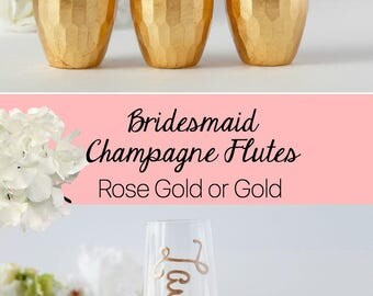 Bridesmaid Gift Ideas -  Personalized Stemless Champagne Flutes -  Bridesmaid Champagne Glasses - Personalized Champagne Flute - Gold  Flute