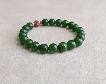 Green Jade Bracelet - Meditation Gift - Gemstone Bracelet - Mala Bracelet - Energy Bracelet - Yoga Jewelry - Meditation Bracelet Item #401