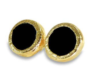 Onyx Stud Earrings, Onyx Studs, Gold Black Onyx Post Earrings, Onyx jewelry, Bezel Set Stud, Black Earrings, Gold Post Fashion Earrings,Gift