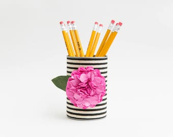 Magnetic Pen // Pencil Holder- Black and White Stripes with Dark Pink Flower - Makeup Brush Holder - Office Decor