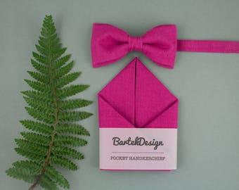Magenta Bow Tie Magenta Pocket Square Matching Set Bow Tie Handkerchief Fuchsia Bow Tie for Men Gift for Men Wedding Set Deep Pink Bow Tie