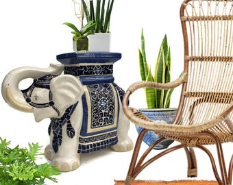 Vintage Elephant Garden Stool Plant Stand Chinoiserie Decor Cobalt Blue White Ceramic End Table Hollywood Regency Side Table Modern Glam