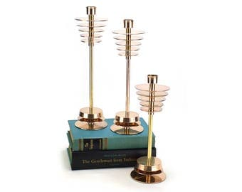 3 Mid Century Atomic Style Brass Candlestick Candleholders - Gold Modern Danish Style Candle Holders Fireplace Decor - Hollywood Regency