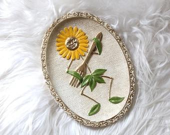 Vintage Girotti Sculptured Art / Flower Art / Vintage Kitchen Art / Vintage Chalkware Wall Hanging / Vintage Dancing Flower with Fork