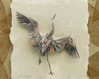 Blank Card - 'Joyous' - Sandhill Crane Paper Sculpture, Print