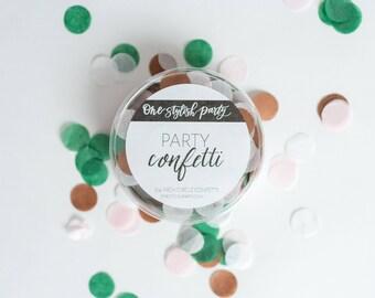 Party Confetti - Emerald Rose - Blush, White, Emerald Rose Gold Confetti - Chic Party Decorations