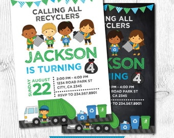 Garbage Truck Birthday, Trash Truck Invitation, Dump truck invitation, Recycle Birthday party, Garbage truck invite, DIGITAL, 2 Options