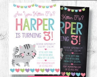 Kitty cat invitation, Cat Invitation, Kitty cat birthday party, Kitten birthday Invitation, Pawty Invitation, Digital, 2 Options