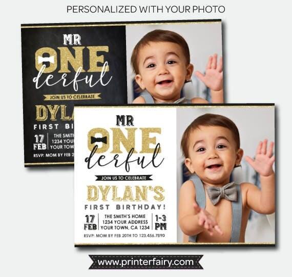 Mr onederful first birthday invitation with photo boys 1st birthday il570xn filmwisefo