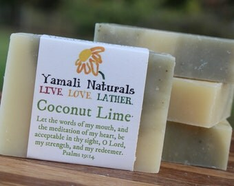 COCONUT LIME Natural Hand & Body Bar - All natural cold process soap - Coconut Milk and Fragrance