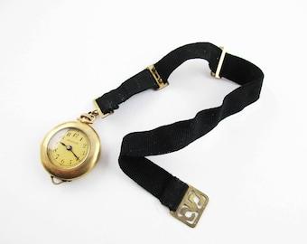 Antique 'Hallmark' Watch - Lovely Antique Women's Watch - Goldtone on Crossgrain Ribbon - Attachments - Swiss Movement