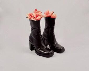 platform 90s black leather midi boot / 7 - 37.5 / chelsea boots / chunky heel square toe / 90s boots / block heel boots / platform boots