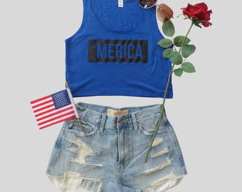 Merica Fourth of July Crop Top