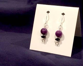 Dyed Purple Jade & Onyx .925 Sterling Silver Earrings