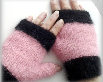 Pink silk and Mohair mittens