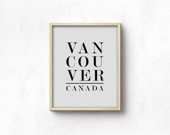 Office Printable Art - Vancouver Canada - Grey And Black - Cities - Modern Wall Art - Art Print - Minimalist - Gallery Wall - SKU:1675