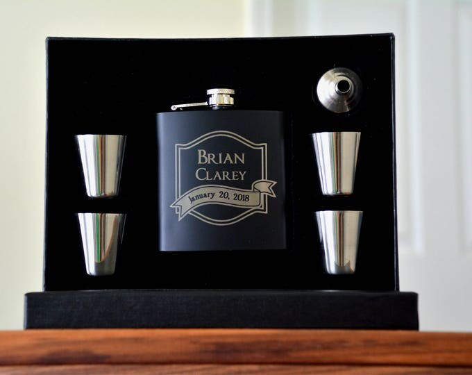Featured listing image: Groomsmen Gift Flasks, Personalized Groomsman Proposal, Flask, Asking Groomsmen, Engraved Flask, Wedding Party Gift, Engraved Shot Glasses