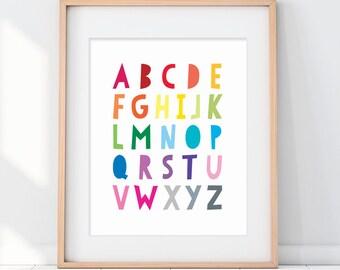 Alphabet Art, alphabet Kids Poster, Colorful Alphabet Sign, Kids ABC Art, Kids ABC Poster, Rainbow ABC, abc Children's Room Art Print