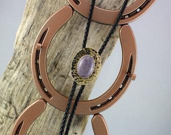 Western Bolo Tie - Natural Purple Jade Bolo Tie - Cowboy Bolo Tie - Handmade Bolo Tie - Brass and Silver Bolo Slide with a Purple Jade Stone