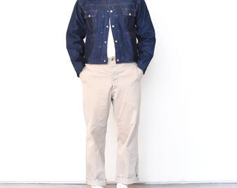 Vintage 70s NOS Deadstock ELY Pleated Dark Raw Denim Jacket | Workwear Cotton 100 (Size 44)