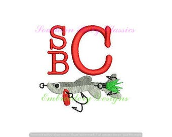 Fly Fishing Lure Spinner Bait Embroidery Fill Mini Monogram Add On Design File for Embroidery Machine Nautical Cute Boy Fish Summer