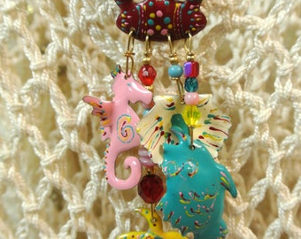 Vintage Signed Rare Retired Lunch at the Ritz Enamel Hanging Earrings Summer Beach Theme Crab Fish Seahorse Seashell