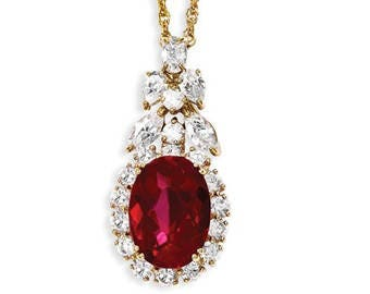 Jackie Kennedy GP Necklace - Simulated Ruby with Crystals